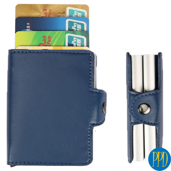 Get your promotional or business logo on a custom leather RFID blocking wallets for New York and New Jersey business marketers and promotional product b2b specialists.